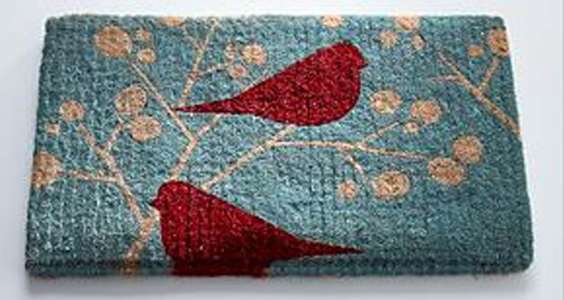 Merveilleux Red Birds Holiday Door Mat ...